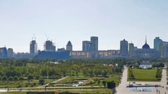 Panorama of Astana. Presidential Park and Palace Akorda President Stock Footage