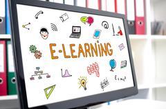E-learning concept on a computer screen Stock Photos
