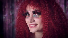 4k Disco Redhead Sexy Woman Posing with Colourful Make-up and Eyelashes Stock Footage
