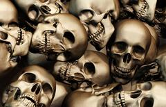 3D illustration of Stack of human skulls. Stock Illustration