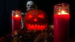 Jack O' Lantern Halloween Slider Zoom In Stock Footage