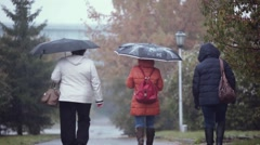 People with umbrellas walking in the street in a snowy and rainy autumn wet day Stock Footage