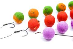 Close up view of fishing baits and Fishing gear for carp. Accessories for car Stock Photos