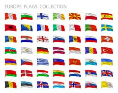 European flags collection. Vector set illustration. Stock Illustration