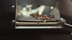 Pouring of freshly roasted coffee beans out of the cooling, mixing machine in Stock Footage