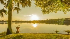 Sunset on the lake. summer landscape Stock Footage