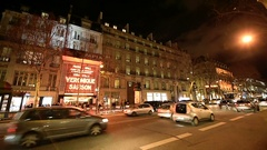 Olympia Concert Hall Paris at night before concert Stock Footage