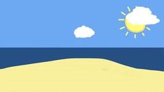 Cartoon sunny day beach 4k Stock Footage