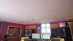 4K Interior view of professional recording studio. No people. Stock Footage