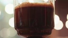 Close up view of brewing coffee in an alternative coffee maker. Making syphon Stock Footage
