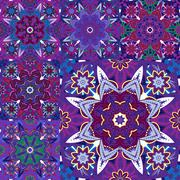 Set of seamless colorful patterns in oriental style. Islam, Arabic, Asian motifs Piirros