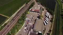 Service Station at a freeway - Aerial Stock Footage