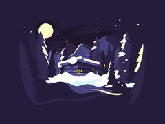 House in woods winter Stock Illustration