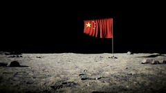 China flag on the moon Stock Footage