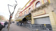 Defocused bataclan theater Stock Footage