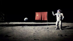 Landing on the moon cosmonaut Stock Footage