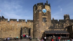 Great Britain England county of Northumberland watchtower inside Alnwick Castle Stock Footage