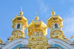 Golden cupolas of Catherine Palace church. Stock Photos