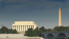 The Lincoln Memorial and Washington Monument in Washington, DC Stock Footage