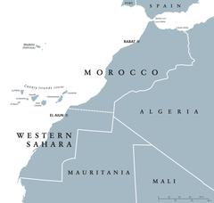 Morocco and Western Sahara political map Stock Illustration