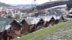 Ski resort Bukovel in late autumn Stock Footage