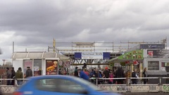 Warschauer Bridge, slow motion, train station, crowd, Berlin Stock Footage