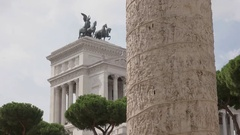 Trajans column in rome, italy Stock Footage