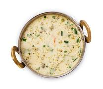Vegan and vegetarian indian cuisine dish, cold yoghurt raita soup Stock Photos