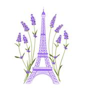Eiffel tower with lavender flowers Piirros
