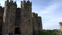 Great Britain England Northumberland Alnwick castle backside with watchtowers Stock Footage