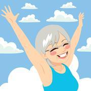 Senior Woman Freedom sky Stock Illustration