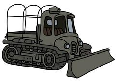 Military tractor with a ploughshare Stock Illustration