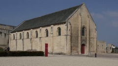 CAEN, FRANCE - MARCH 2016 Old church building William the Conqueror castle fo Stock Footage