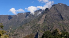 La Reunion Piton des Neiges mountain view panorama Stock Footage