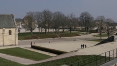 CAEN, FRANCE - MARCH 2016 Church building William the Conqueror castle fortif Stock Footage