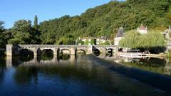 Bridge in the Brantome, France Stock Footage