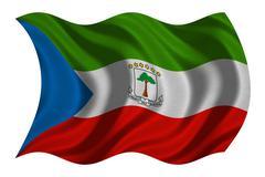 Flag of Equatorial Guinea waving, fabric texture Stock Photos