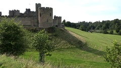 Great Britain England Northumberland Alnwick fortress in green landscape Stock Footage