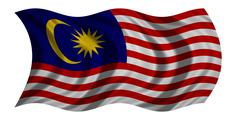 Flag of Malaysia wavy on white, fabric texture Stock Photos