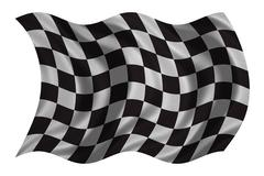 Checkered racing flag wavy on white fabric texture Stock Photos