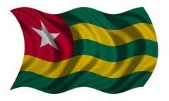 Flag of Togo wavy on white, fabric texture Stock Photos