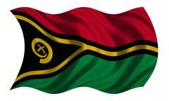 Flag of Vanuatu wavy on white, fabric texture Stock Photos