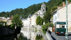 The Benedictine abbey abbaye Saint-Pierre de Brantome, France Stock Footage
