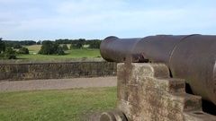 Great Britain England Northumberland Alnwick Castle ; English landscape & cannon Stock Footage