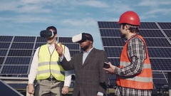 Vr glasses and solar power Stock Footage