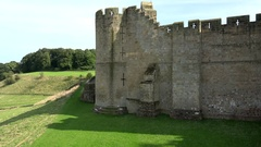 Great Britain England Northumberland Alnwick Castle and glowing green meadow Stock Footage