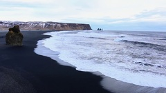 Vik Iceland waves at the black beach in winter Stock Footage