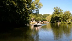 Boat trip, Brantome, France Stock Footage