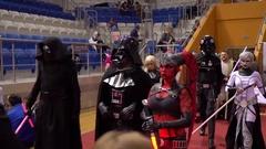 Minsk, October 2016, belarus Comic Con. Parade of star wars heroes. Star wars Stock Footage