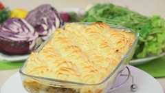 Baked potato gratin Stock Footage